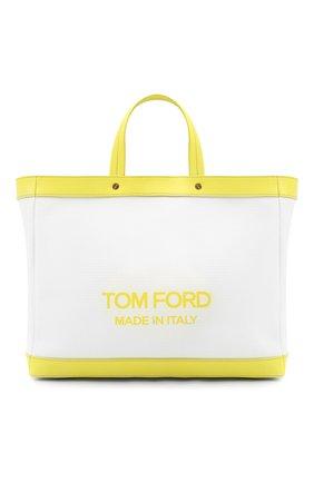 Женский сумка-шопер t-screw medium TOM FORD салатового цвета, арт. L1497T-ICN002 | Фото 1 (Материал: Текстиль; Размер: medium; Сумки-технические: Сумки-шопперы)