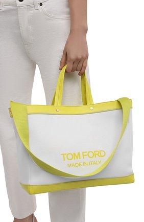 Женский сумка-шопер t-screw medium TOM FORD салатового цвета, арт. L1497T-ICN002 | Фото 2 (Материал: Текстиль; Размер: medium; Сумки-технические: Сумки-шопперы)