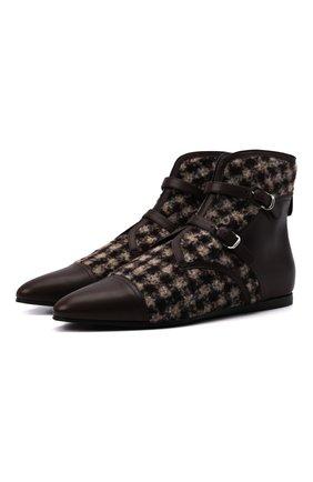 Женская комбинированные ботинки GIORGIO ARMANI коричневого цвета, арт. X1M374/XM948   Фото 1 (Подошва: Плоская; Материал внешний: Текстиль; Материал внутренний: Натуральная кожа)