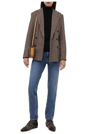 Женская комбинированные ботинки GIORGIO ARMANI коричневого цвета, арт. X1M374/XM948   Фото 2 (Подошва: Плоская; Материал внешний: Текстиль; Материал внутренний: Натуральная кожа)