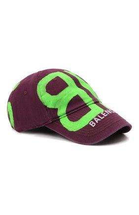 Мужской хлопковая бейсболка BALENCIAGA фиолетового цвета, арт. 673321/410B2   Фото 1 (Материал: Хлопок, Текстиль)
