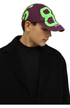 Мужской хлопковая бейсболка BALENCIAGA фиолетового цвета, арт. 673321/410B2   Фото 2 (Материал: Хлопок, Текстиль)