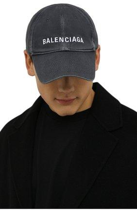 Мужской хлопковая бейсболка BALENCIAGA серого цвета, арт. 673319/410B2   Фото 2 (Материал: Текстиль, Хлопок)