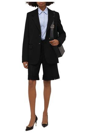 Женские шерстяные шорты BURBERRY черного цвета, арт. 8046913 | Фото 2 (Материал подклада: Купро; Материал внешний: Шерсть; Длина Ж (юбки, платья, шорты): Миди; Женское Кросс-КТ: Шорты-одежда; Кросс-КТ: Широкие; Стили: Кэжуэл)