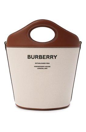 Женская сумка pocket BURBERRY светло-коричневого цвета, арт. 8046242 | Фото 1 (Ремень/цепочка: На ремешке; Размер: small; Материал: Текстиль; Сумки-технические: Сумки top-handle, Сумки через плечо)