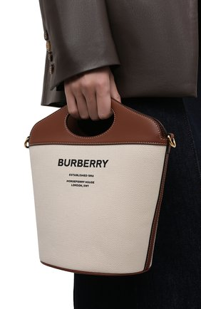 Женская сумка pocket BURBERRY светло-коричневого цвета, арт. 8046242 | Фото 2 (Ремень/цепочка: На ремешке; Размер: small; Материал: Текстиль; Сумки-технические: Сумки top-handle, Сумки через плечо)