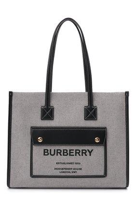 Женский сумка-тоут BURBERRY черного цвета, арт. 8044137 | Фото 1 (Материал: Текстиль; Размер: medium; Сумки-технические: Сумки-шопперы)