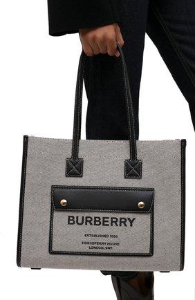 Женский сумка-тоут BURBERRY черного цвета, арт. 8044137 | Фото 2 (Материал: Текстиль; Размер: medium; Сумки-технические: Сумки-шопперы)