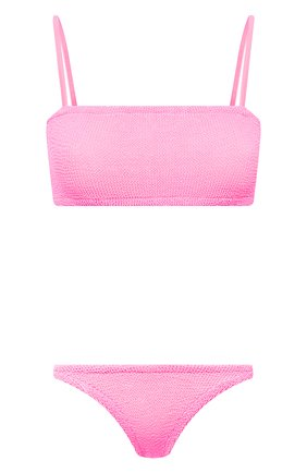 Женский раздельный купальник HUNZA G розового цвета, арт. GIGI BIKINI CRINKLE   Фото 1 (Материал внешний: Синтетический материал; Женское Кросс-КТ: Раздельные купальники)