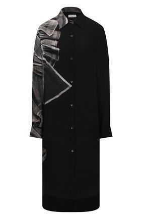 Женское шелковое платье DRIES VAN NOTEN черного цвета, арт. 212-011027-3206 | Фото 1 (Длина Ж (юбки, платья, шорты): Миди; Материал внешний: Шелк; Рукава: Длинные; Женское Кросс-КТ: Платье-одежда, платье-рубашка; Случай: Повседневный; Стили: Кэжуэл)