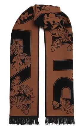 Мужской шарф из шерсти и шелка BURBERRY коричневого цвета, арт. 8045793 | Фото 1 (Материал: Шерсть; Кросс-КТ: шерсть)