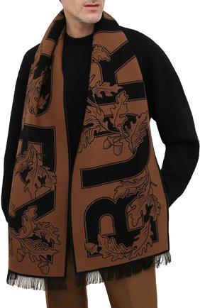 Мужской шарф из шерсти и шелка BURBERRY коричневого цвета, арт. 8045793 | Фото 2 (Материал: Шерсть; Кросс-КТ: шерсть)