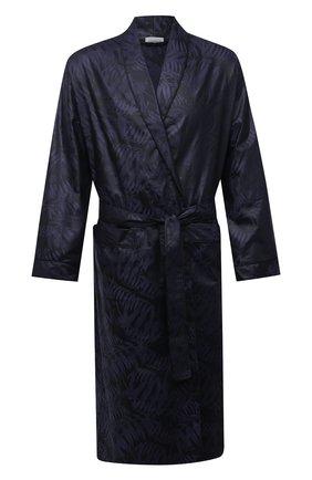 Мужской хлопковый халат ZIMMERLI темно-синего цвета, арт. 4737-75141 | Фото 1 (Материал внешний: Хлопок; Кросс-КТ: домашняя одежда)