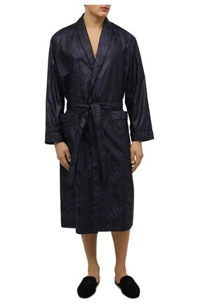 Мужской хлопковый халат ZIMMERLI темно-синего цвета, арт. 4737-75141 | Фото 2 (Материал внешний: Хлопок; Кросс-КТ: домашняя одежда)