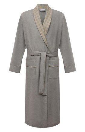 Мужской халат из хлопка и шерсти ZIMMERLI серого цвета, арт. 4600-75143 | Фото 1 (Материал внешний: Хлопок; Кросс-КТ: домашняя одежда)