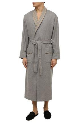 Мужской халат из хлопка и шерсти ZIMMERLI серого цвета, арт. 4600-75143 | Фото 2 (Материал внешний: Хлопок; Кросс-КТ: домашняя одежда)