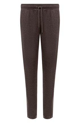 Мужские брюки из хлопка и кашемира ZIMMERLI коричневого цвета, арт. 450-21102 | Фото 1 (Длина (брюки, джинсы): Стандартные; Материал внешний: Шерсть, Хлопок, Кашемир; Кросс-КТ: домашняя одежда)