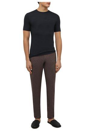 Мужские брюки из хлопка и кашемира ZIMMERLI коричневого цвета, арт. 450-21102 | Фото 2 (Длина (брюки, джинсы): Стандартные; Материал внешний: Шерсть, Хлопок, Кашемир; Кросс-КТ: домашняя одежда)