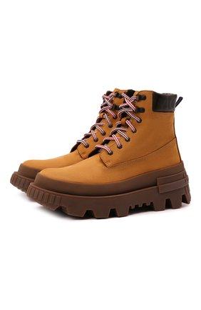 Мужские кожаные ботинки mon corp MONCLER бежевого цвета, арт. G2-09A-4F710-00-02SY1 | Фото 1 (Материал внутренний: Натуральная кожа; Мужское Кросс-КТ: Ботинки-обувь; Каблук высота: Высокий; Подошва: Массивная)