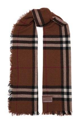 Мужской кашемировый шарф BURBERRY коричневого цвета, арт. 8046213 | Фото 1 (Материал: Кашемир, Шерсть; Кросс-КТ: кашемир)