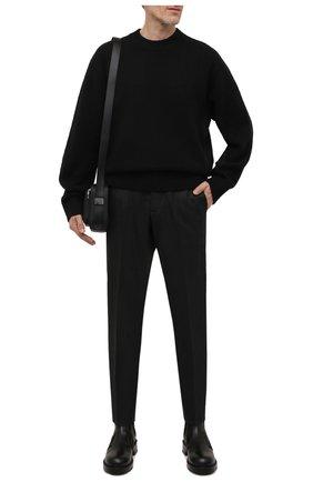 Мужские шерстяные брюки BURBERRY темно-серого цвета, арт. 8046203   Фото 2 (Материал внешний: Шерсть; Длина (брюки, джинсы): Стандартные; Случай: Формальный; Стили: Классический)