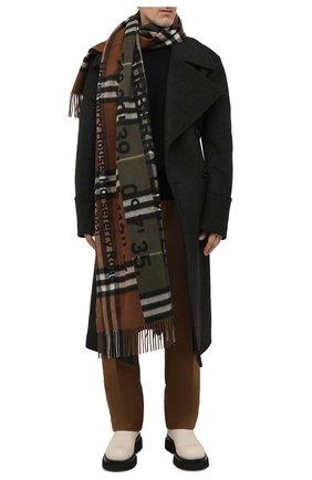 Мужской кашемировый шарф BURBERRY коричневого цвета, арт. 8045328 | Фото 2 (Материал: Шерсть, Кашемир; Кросс-КТ: кашемир)