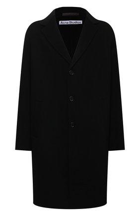 Мужской шерстяное пальто ACNE STUDIOS черного цвета, арт. B90548 | Фото 1 (Материал подклада: Синтетический материал; Длина (верхняя одежда): До колена; Рукава: Длинные; Материал внешний: Шерсть; Мужское Кросс-КТ: пальто-верхняя одежда; Стили: Минимализм)