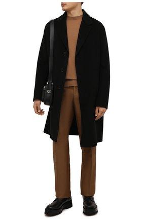 Мужской шерстяное пальто ACNE STUDIOS черного цвета, арт. B90548 | Фото 2 (Материал подклада: Синтетический материал; Длина (верхняя одежда): До колена; Рукава: Длинные; Материал внешний: Шерсть; Мужское Кросс-КТ: пальто-верхняя одежда; Стили: Минимализм)