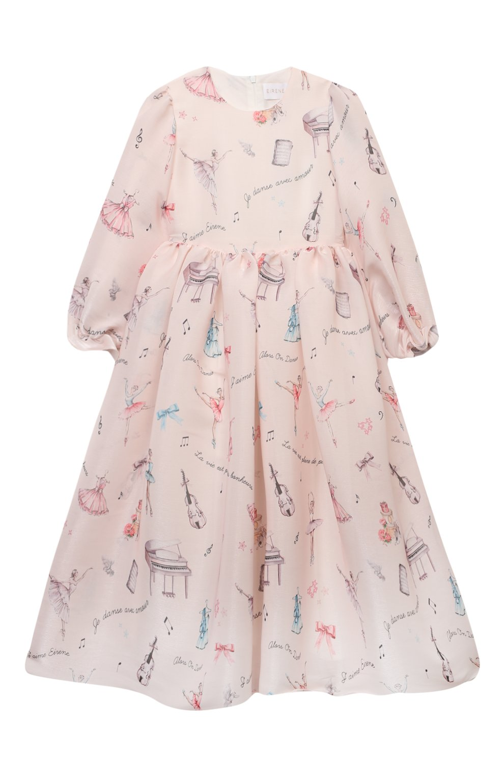 Детское платье EIRENE светло-розового цвета, арт. 212217 | Фото 1 (Рукава: Длинные; Случай: Вечерний; Материал внешний: Синтетический материал; Материал подклада: Хлопок)