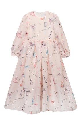 Детское платье EIRENE светло-розового цвета, арт. 212217 | Фото 1 (Материал внешний: Синтетический материал; Материал подклада: Хлопок; Рукава: Длинные; Случай: Вечерний)