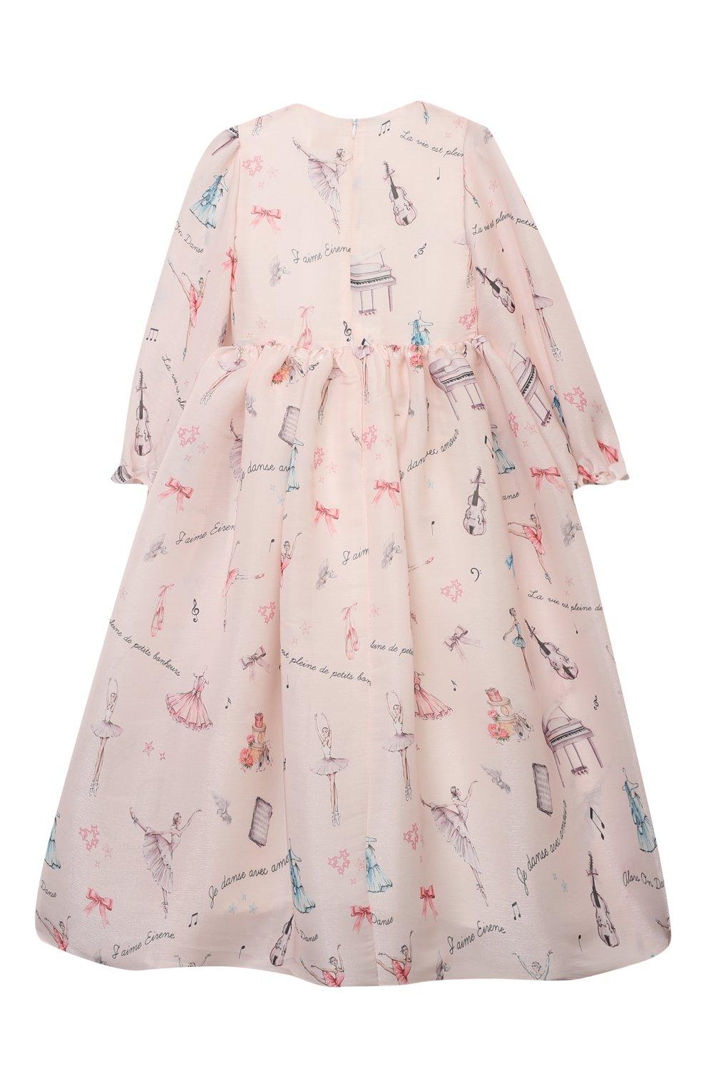 Детское платье EIRENE светло-розового цвета, арт. 212217 | Фото 2 (Рукава: Длинные; Случай: Вечерний; Материал внешний: Синтетический материал; Материал подклада: Хлопок)