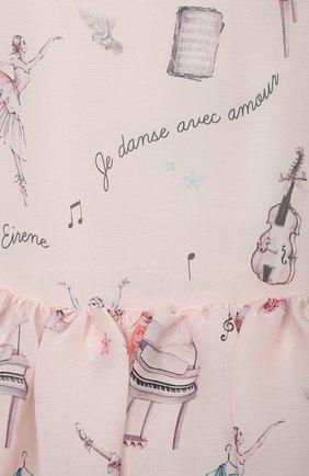 Детское платье EIRENE светло-розового цвета, арт. 212217 | Фото 3 (Рукава: Длинные; Случай: Вечерний; Материал внешний: Синтетический материал; Материал подклада: Хлопок)
