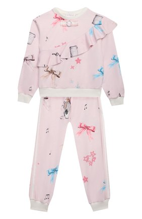 Детская комплект из свитшота и брюк EIRENE светло-розового цвета, арт. 212220 | Фото 1 (Рукава: Длинные; Материал внешний: Хлопок; Девочки Кросс-КТ: Костюмы-спорт)