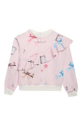 Детская комплект из свитшота и брюк EIRENE светло-розового цвета, арт. 212220 | Фото 2 (Рукава: Длинные; Материал внешний: Хлопок; Девочки Кросс-КТ: Костюмы-спорт)