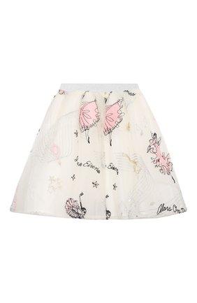 Детская юбка EIRENE белого цвета, арт. 212238 | Фото 2 (Материал внешний: Синтетический материал; Материал подклада: Хлопок; Случай: Повседневный)
