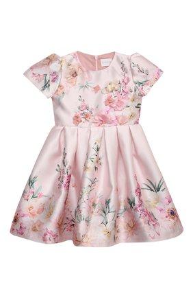 Детское платье EIRENE светло-розового цвета, арт. 212249 | Фото 1 (Рукава: Короткие; Материал подклада: Хлопок; Материал внешний: Синтетический материал; Случай: Вечерний)