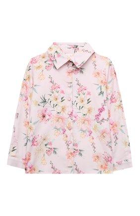 Детское хлопковая блузка EIRENE розового цвета, арт. 212252 | Фото 1 (Материал внешний: Хлопок; Рукава: Длинные)