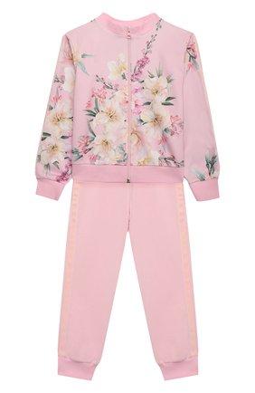 Детская комплект из толстовки и брюк EIRENE розового цвета, арт. 212260 | Фото 1 (Рукава: Длинные; Девочки Кросс-КТ: Костюмы-спорт)