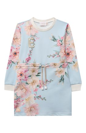 Детское хлопковое платье EIRENE голубого цвета, арт. 212261 | Фото 1 (Рукава: Длинные; Материал внешний: Хлопок; Случай: Повседневный)