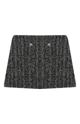 Детская твидовая юбка DESIGNERS CAT черного цвета, арт. 100000K01000953/4A-8A | Фото 1 (Материал внешний: Хлопок, Вискоза, Синтетический материал; Материал подклада: Хлопок; Случай: Повседневный)