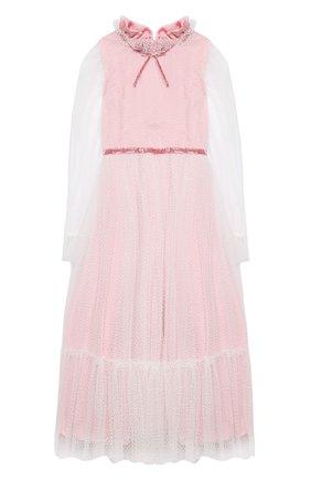 Детское платье DESIGNERS CAT розового цвета, арт. 100000K01000951/10A-12A | Фото 1 (Рукава: Длинные; Материал внешний: Синтетический материал; Материал подклада: Хлопок; Случай: Вечерний)