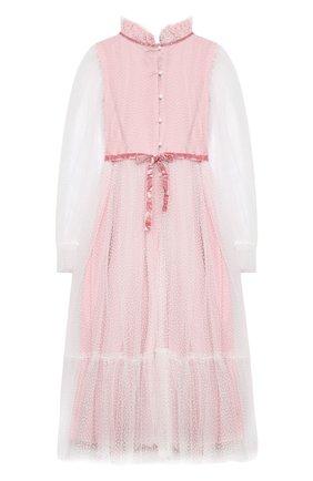 Детское платье DESIGNERS CAT розового цвета, арт. 100000K01000951/10A-12A | Фото 2 (Рукава: Длинные; Материал внешний: Синтетический материал; Материал подклада: Хлопок; Случай: Вечерний)
