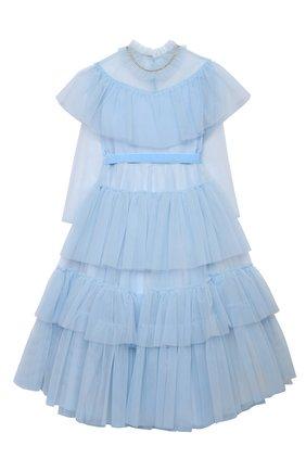 Детское платье DESIGNERS CAT голубого цвета, арт. 100000K01000637/4A-8A | Фото 1 (Материал внешний: Синтетический материал; Материал подклада: Хлопок; Случай: Вечерний; Рукава: Длинные)