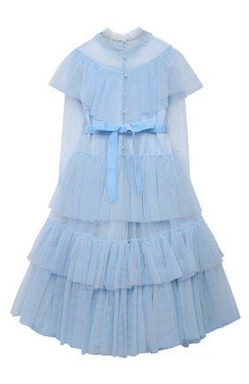 Детское платье DESIGNERS CAT голубого цвета, арт. 100000K01000637/4A-8A | Фото 2 (Материал внешний: Синтетический материал; Материал подклада: Хлопок; Случай: Вечерний; Рукава: Длинные)