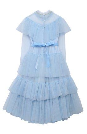 Детское платье DESIGNERS CAT голубого цвета, арт. 100000K01000637/14A | Фото 2 (Материал внешний: Синтетический материал; Материал подклада: Хлопок; Случай: Вечерний; Рукава: Длинные)