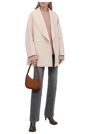 Женское пальто из шерсти и кашемира THE ROW светло-бежевого цвета, арт. 5887W1439 | Фото 2 (Рукава: Длинные; Длина (верхняя одежда): До середины бедра; Материал внешний: Шерсть)