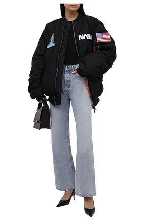 Женский бомбер BALENCIAGA черного цвета, арт. 663056/TYD31   Фото 2 (Материал подклада: Купро; Материал внешний: Синтетический материал; Рукава: Длинные; Длина (верхняя одежда): Короткие; Стили: Спорт-шик; Кросс-КТ: Куртка, бомбер)