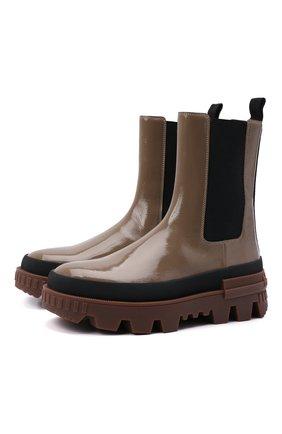 Женские кожаные ботинки coralyne MONCLER серого цвета, арт. G2-09B-4F714-00-02SWR | Фото 1 (Каблук высота: Низкий; Материал внутренний: Натуральная кожа; Подошва: Платформа; Каблук тип: Устойчивый; Женское Кросс-КТ: Челси-ботинки)