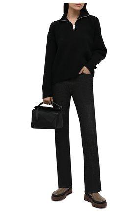 Женские кожаные ботинки coralyne MONCLER серого цвета, арт. G2-09B-4F714-00-02SWR | Фото 2 (Каблук высота: Низкий; Материал внутренний: Натуральная кожа; Подошва: Платформа; Каблук тип: Устойчивый; Женское Кросс-КТ: Челси-ботинки)