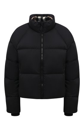 Женская пуховая куртка BURBERRY черного цвета, арт. 8044730 | Фото 1 (Материал утеплителя: Пух и перо; Рукава: Длинные; Материал внешний: Синтетический материал; Материал подклада: Синтетический материал; Длина (верхняя одежда): Короткие; Стили: Спорт-шик; Женское Кросс-КТ: Пуховик-куртка)